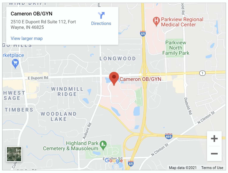 Cameron OBGYN Fort Wayne map